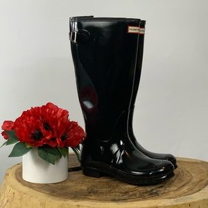 Hunter Black Gloss Original Adjustable Rain Boot 8
